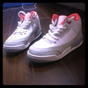 White and Orange/Red Jordan's